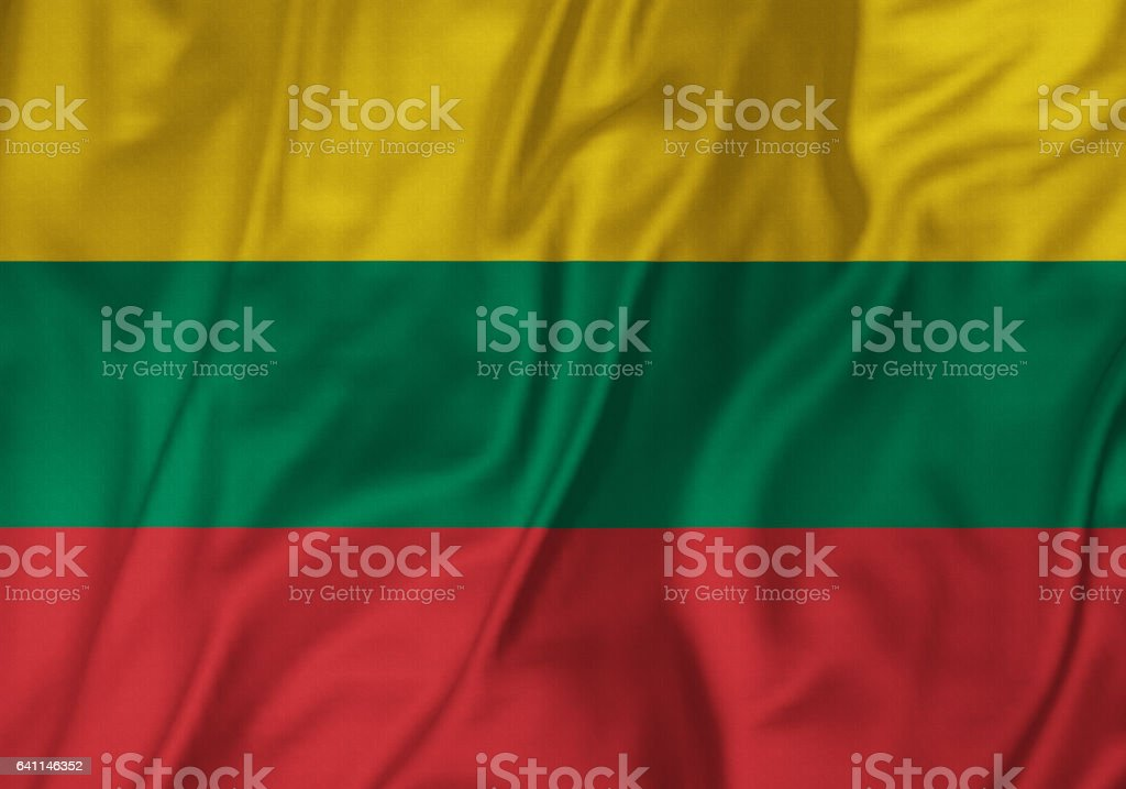 Closeup of Ruffled Lithuania Flag, Lithuania Flag Blowing in Wind stock photo