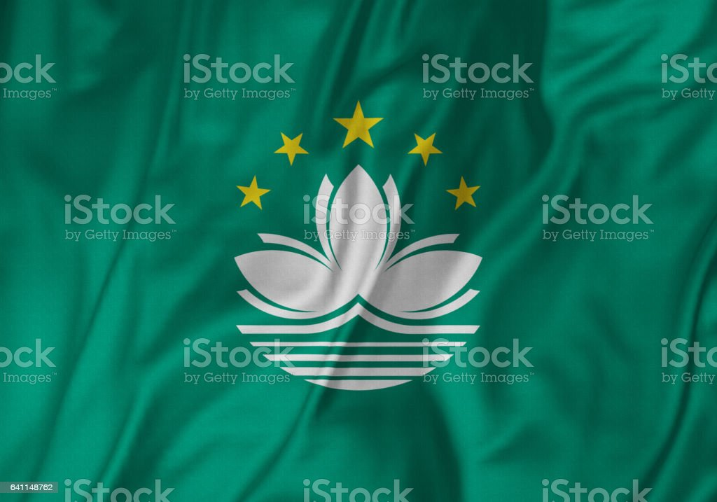 Closeup of Ruffled Macau Flag, Macau Flag Blowing in Wind stock photo