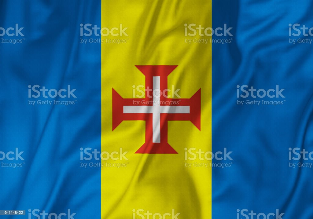 Closeup of Ruffled Madeira Flag, Madeira Flag Blowing in Wind stock photo