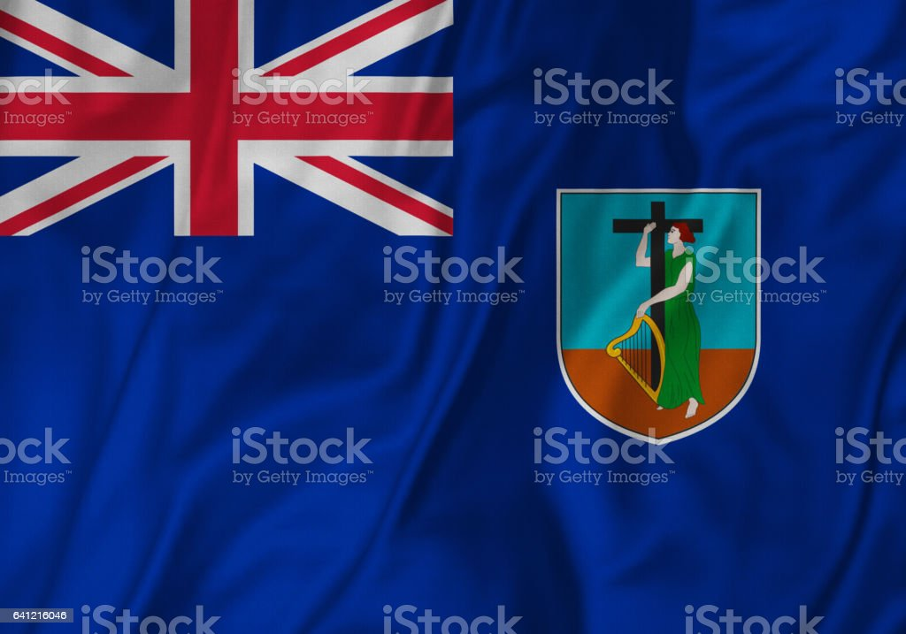 Closeup of Ruffled Montserrat Flag, Montserrat Flag Blowing in Wind stock photo