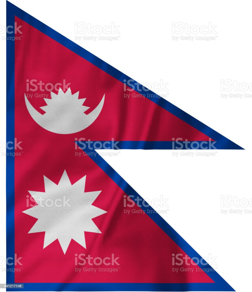 Closeup of Ruffled Nepal Flag, Nepal Flag Blowing in Wind stock photo