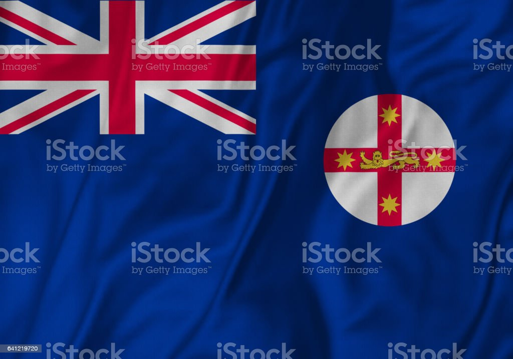 Closeup of Ruffled New South Wales Flag, New South Wales Flag Blowing in Wind stock photo