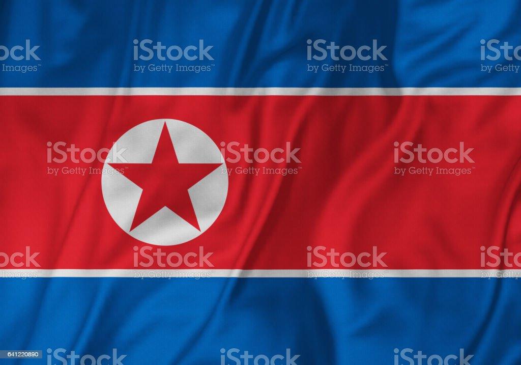 Closeup of Ruffled North Korea Flag, North Korea Flag Blowing in Wind stock photo