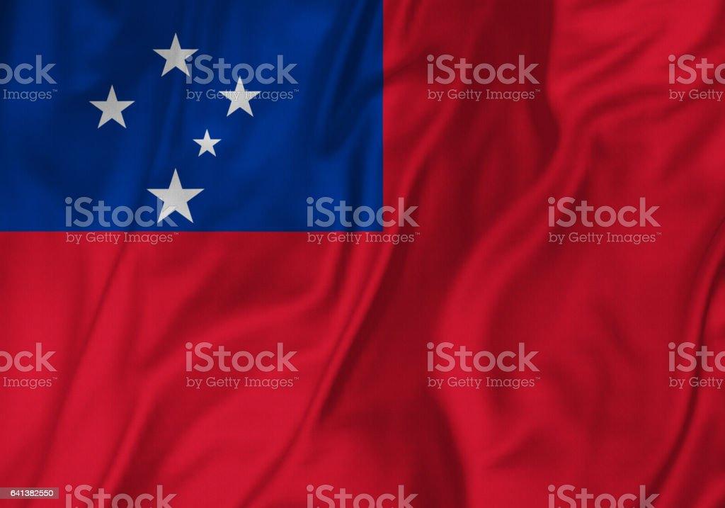 Closeup of Ruffled Samoa Flag, Samoa Flag Blowing in Wind stock photo
