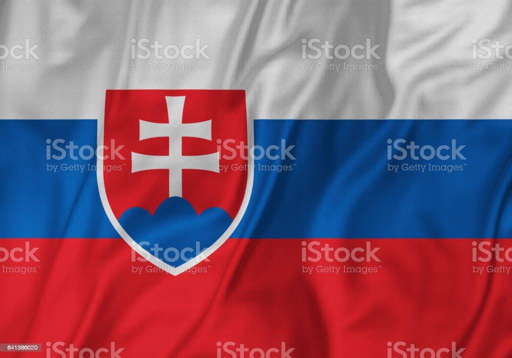 Closeup of Ruffled Slovakia Flag, Slovakia Flag Blowing in Wind stock photo