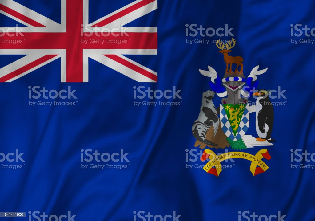 Closeup of Ruffled South Georgia and the South Sandwich Islands Flag, stock photo