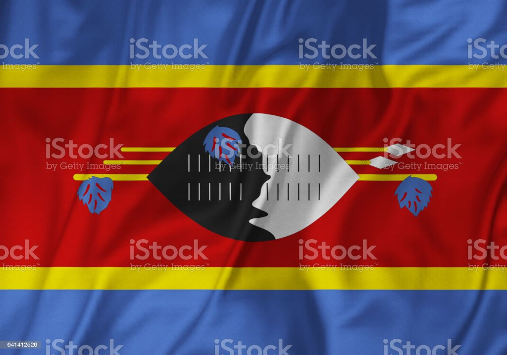 Closeup of Ruffled Swaziland Flag, Swaziland Flag Blowing in Wind stock photo
