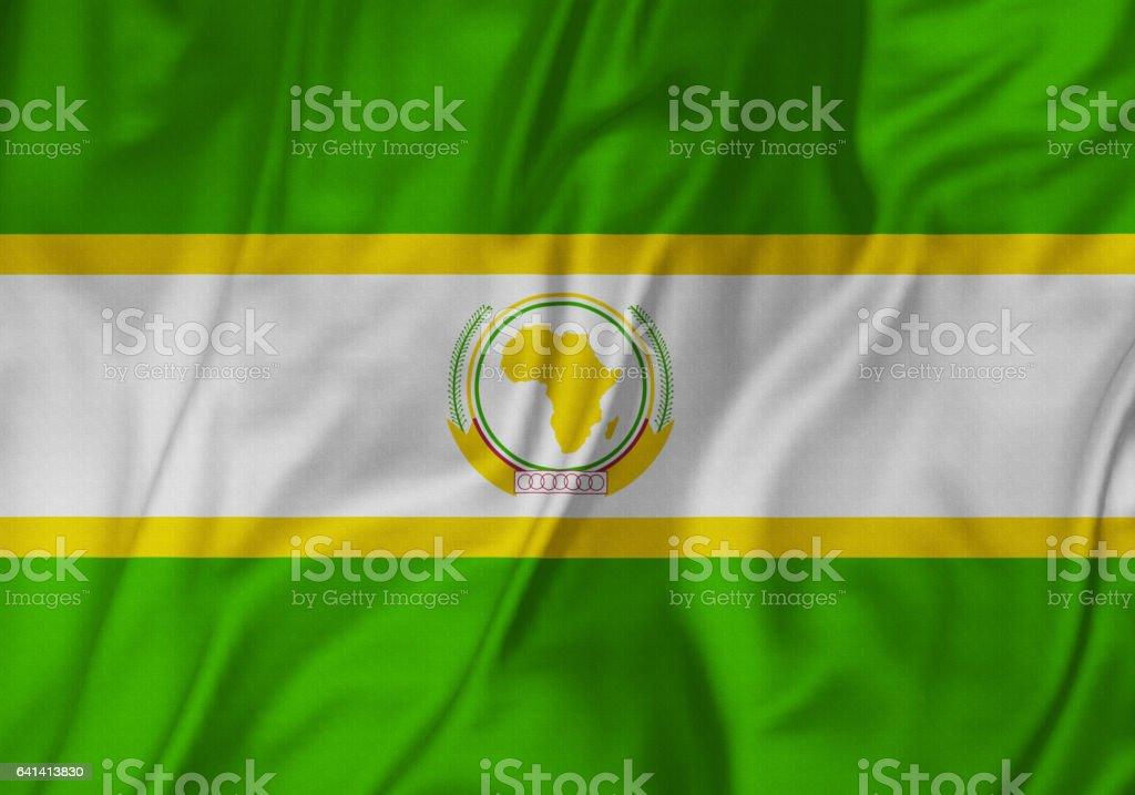 Closeup of Ruffled The African Union Flag, The African Union Flag Blowing in Wind stock photo
