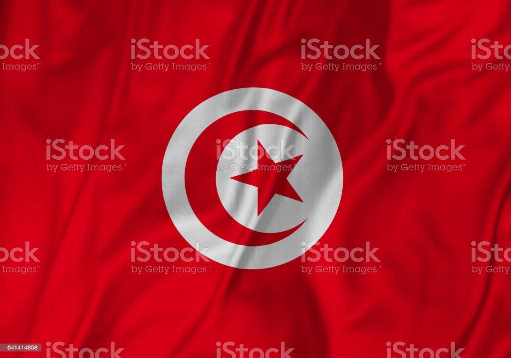 Closeup of Ruffled Tunisia Flag, Tunisia Flag Blowing in Wind stock photo