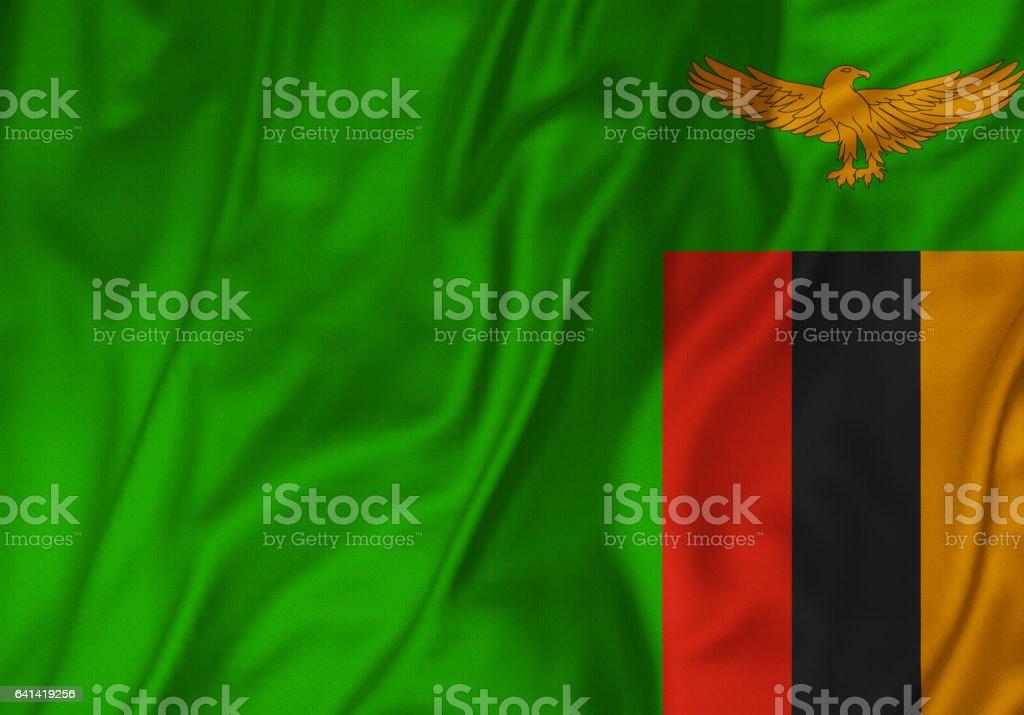 Closeup of Ruffled Zambia Flag, Zambia Flag Blowing in Wind stock photo