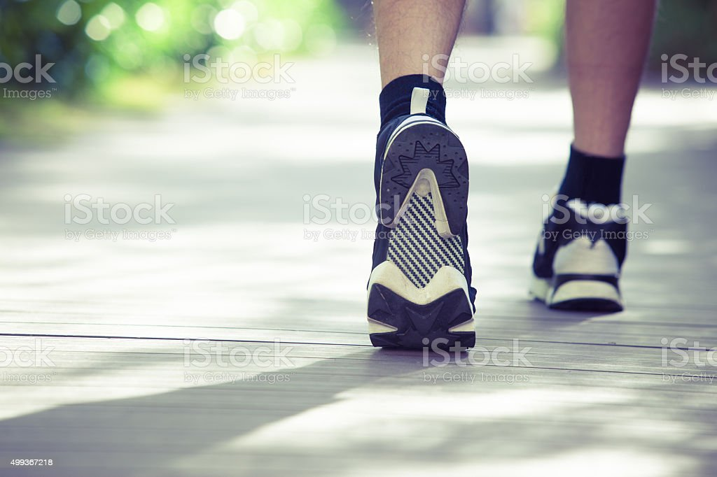 Close-up of Runner or Walker's Shoes Outdoor stock photo
