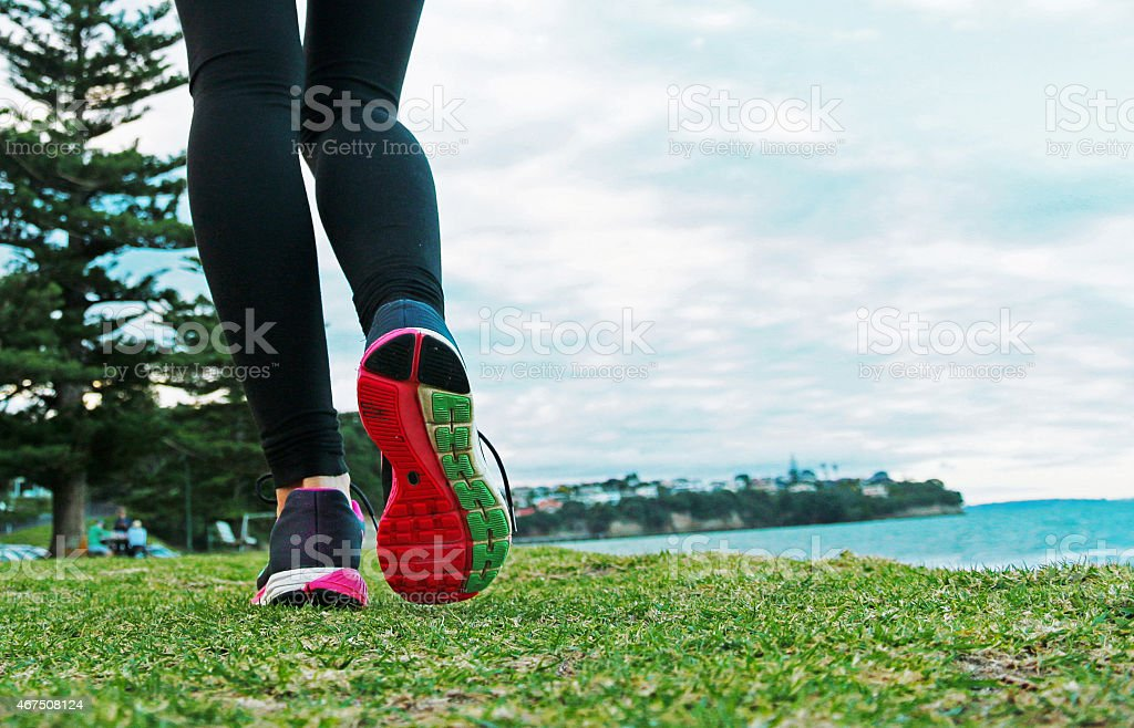 Close-up of running shoes stock photo