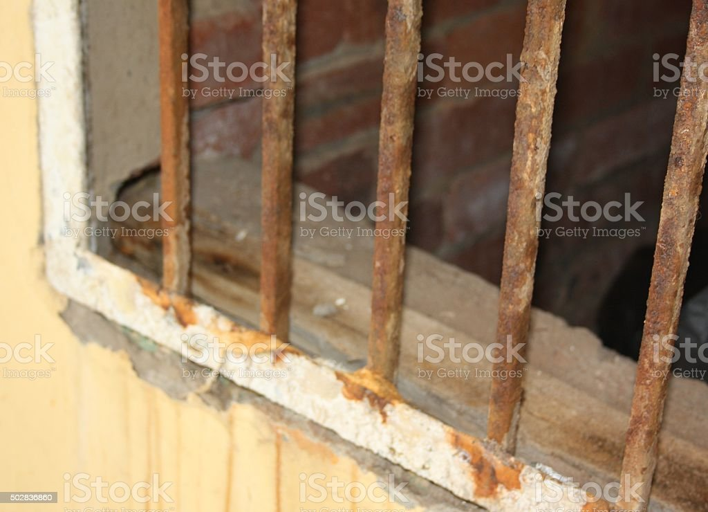 Close-up of rusted metal gate stock photo