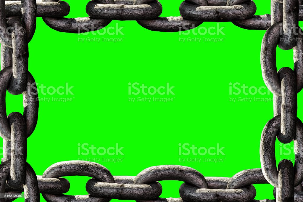 Closeup of rusty chain link segment isolated stock photo