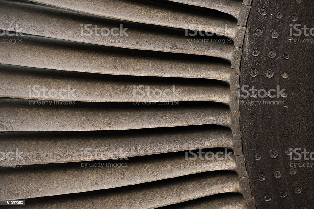 Closeup of Rusty Engine Fan royalty-free stock photo