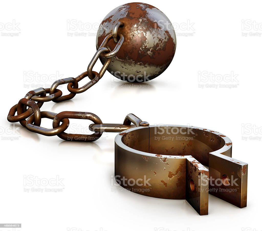 Close-up of rusty shackles with chain and ball stock photo