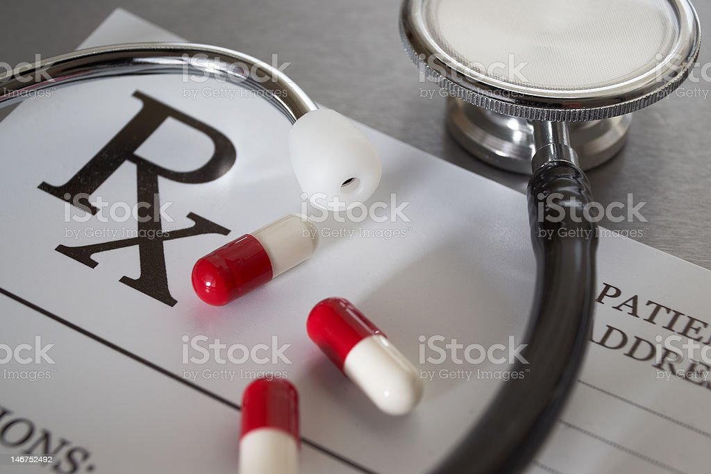 Close-up of RX prescription and stethoscope stock photo