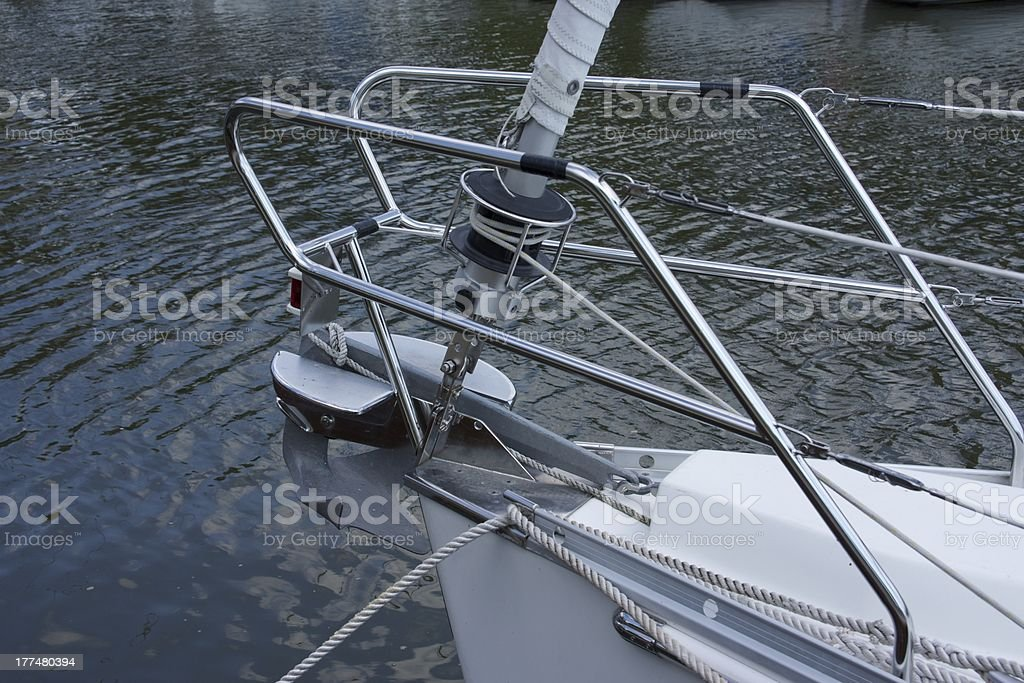 Close-up of sailboat bow railing royalty-free stock photo