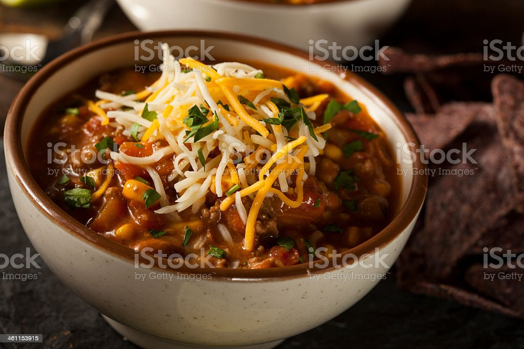 Close-up of Santa Fe Soup in bowl with cheese on top stock photo