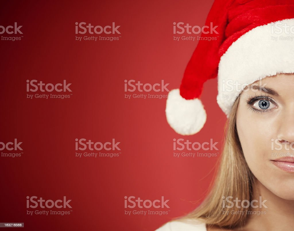 Close-up of santa woman stock photo