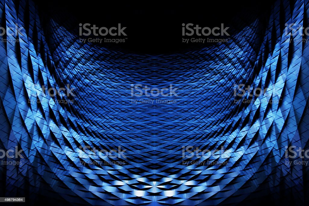 Closeup of scaly parabolic metal grid in blue color stock photo