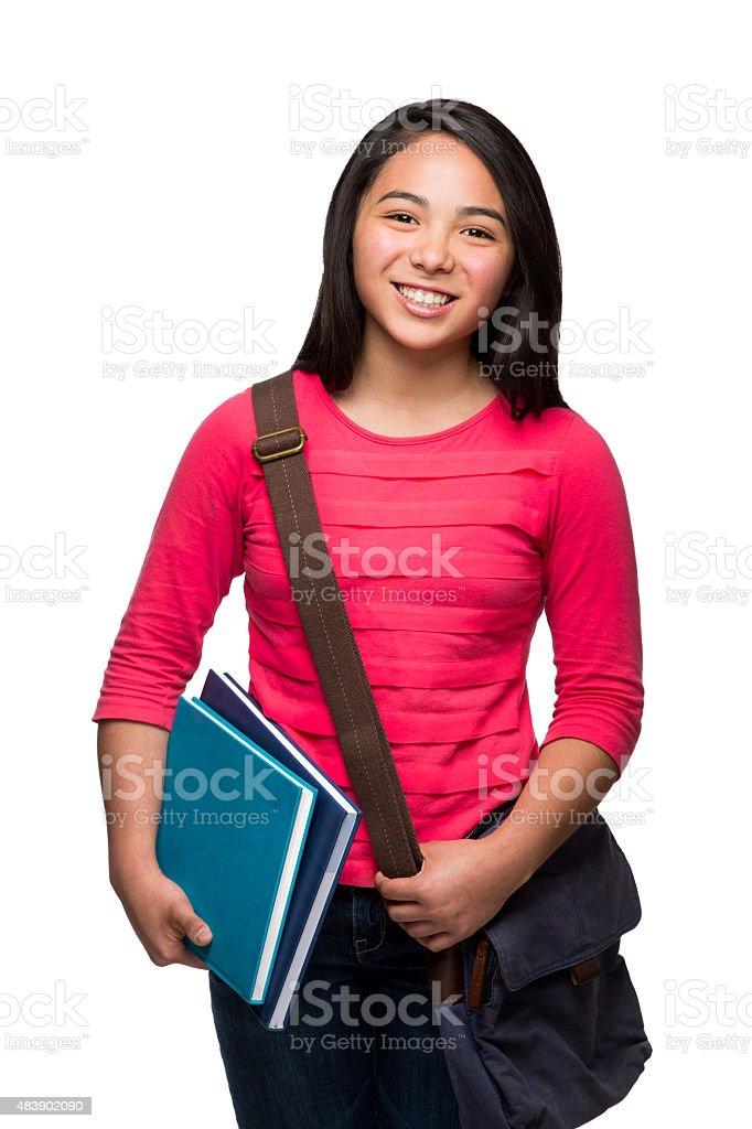 Close-up of schoolgirl smiling stock photo