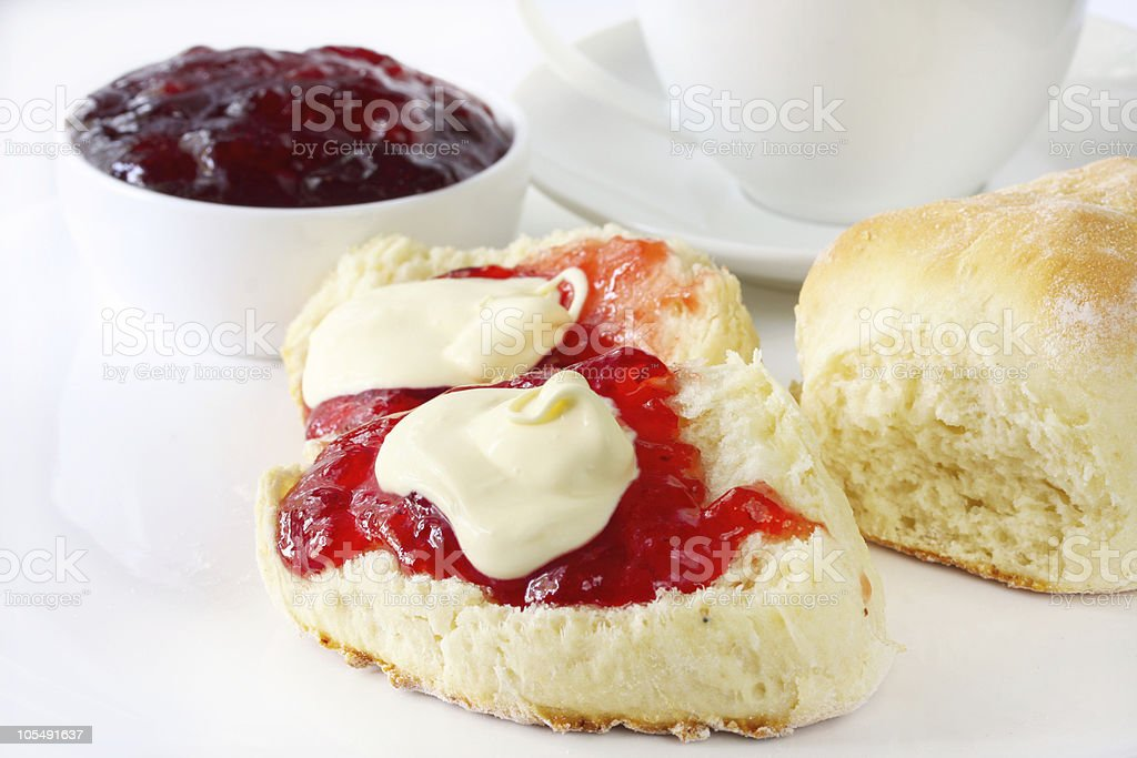 Close-up of scones with butter and jam royalty-free stock photo