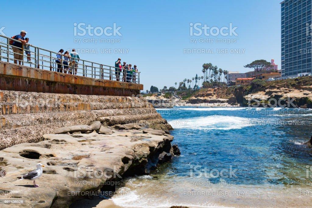 Close-Up of Sea Wall Overlooking La Jolla Children's Pool stock photo