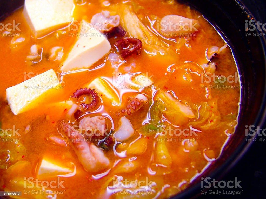 Close-up of Seafood Jjigae stock photo