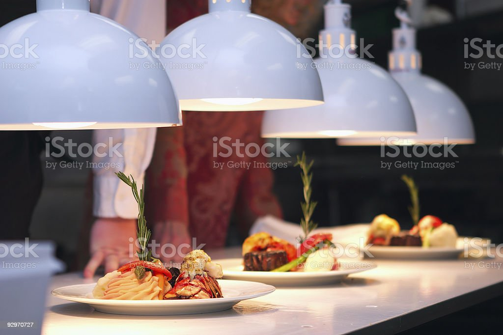 Close-up of seafood spaghetti displayed in spotlight royalty-free stock photo