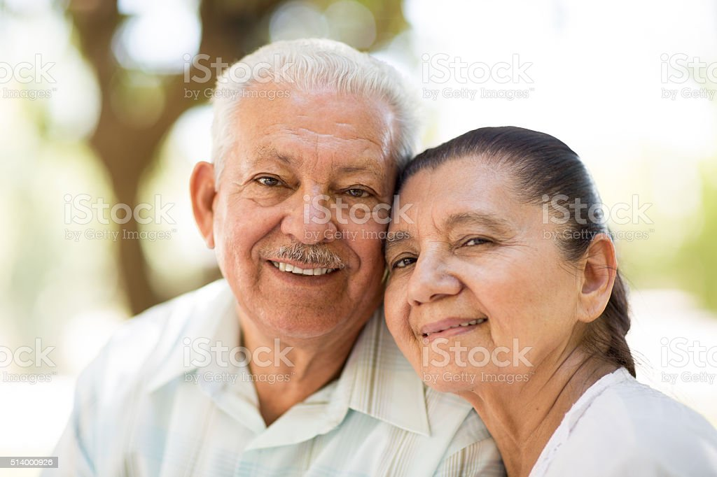 Close-up of senior couple stock photo