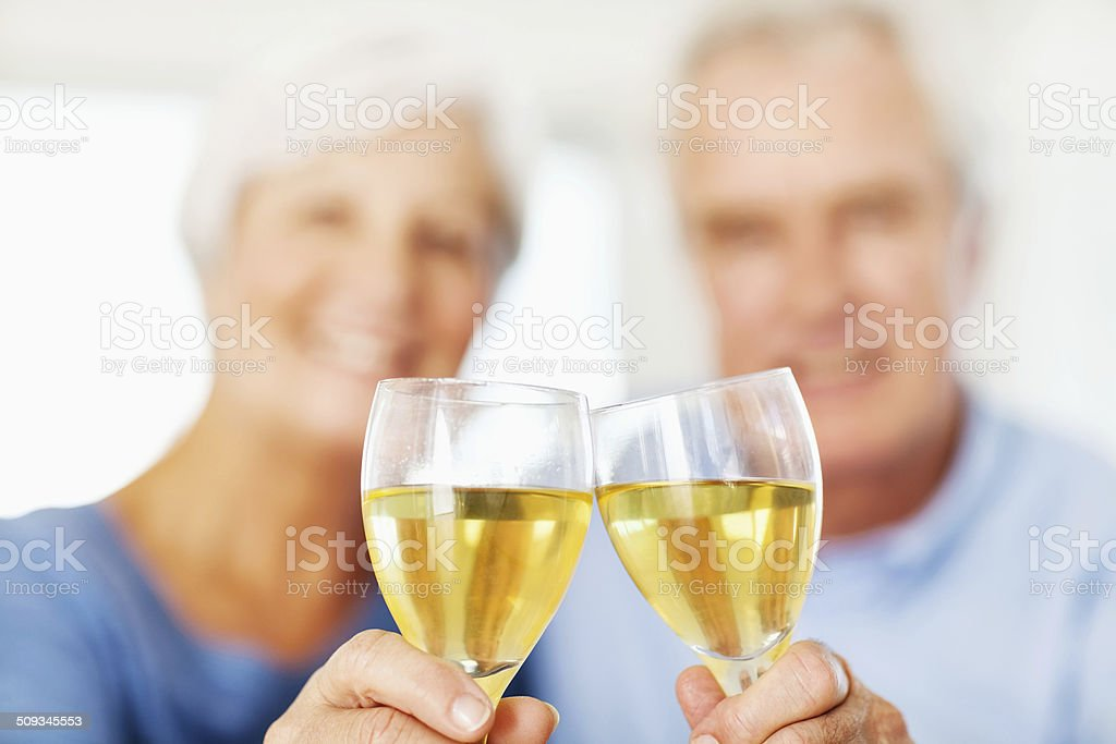 Close-Up Of Senior Couple Toasting Wineglasses At Home royalty-free stock photo
