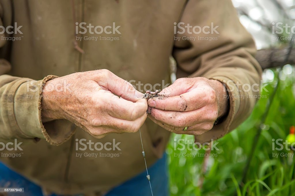 Close-Up of Senior Man Putting Worm Bait on Fish Hook stock photo