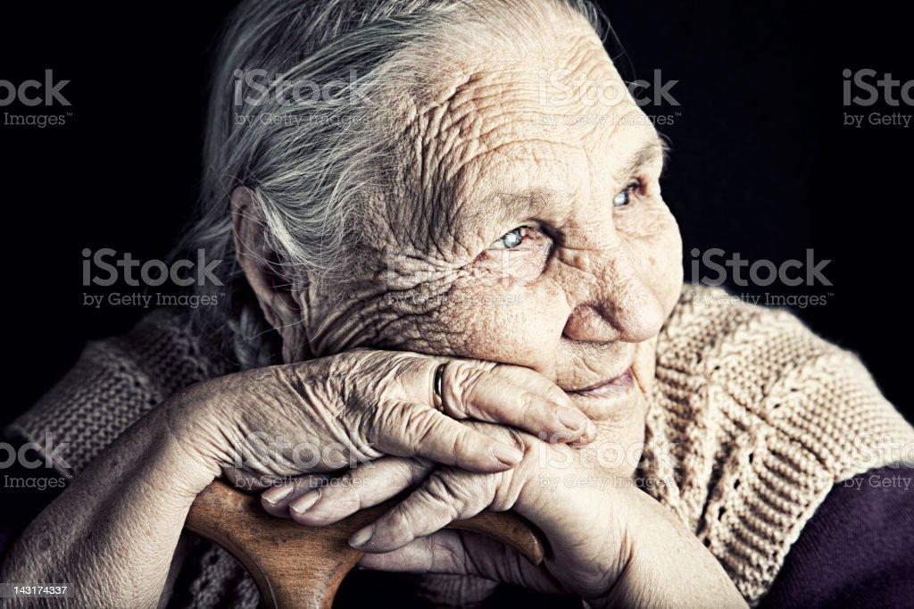 Close-up of senior woman stock photo