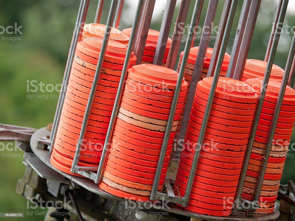 Close-up of set of clay pigeons for trapshooting stock photo