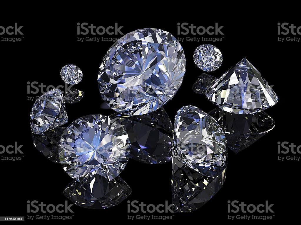 Close-up of seven shiny diamonds on black background royalty-free stock photo