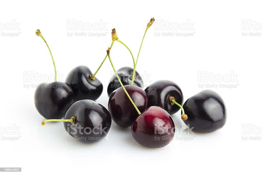 A close-up of several ripe cherries stock photo