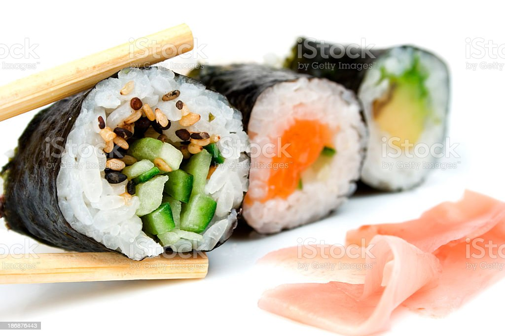 Close-up of several rolls of sushi royalty-free stock photo