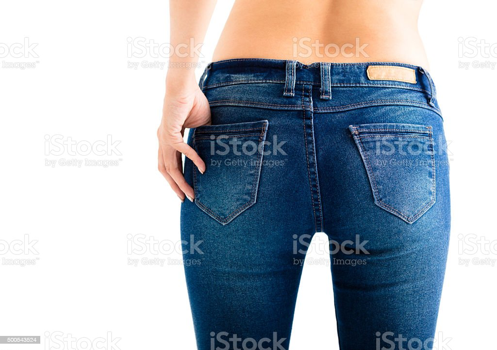 Closeup of sexy woman wearing jeans stock photo
