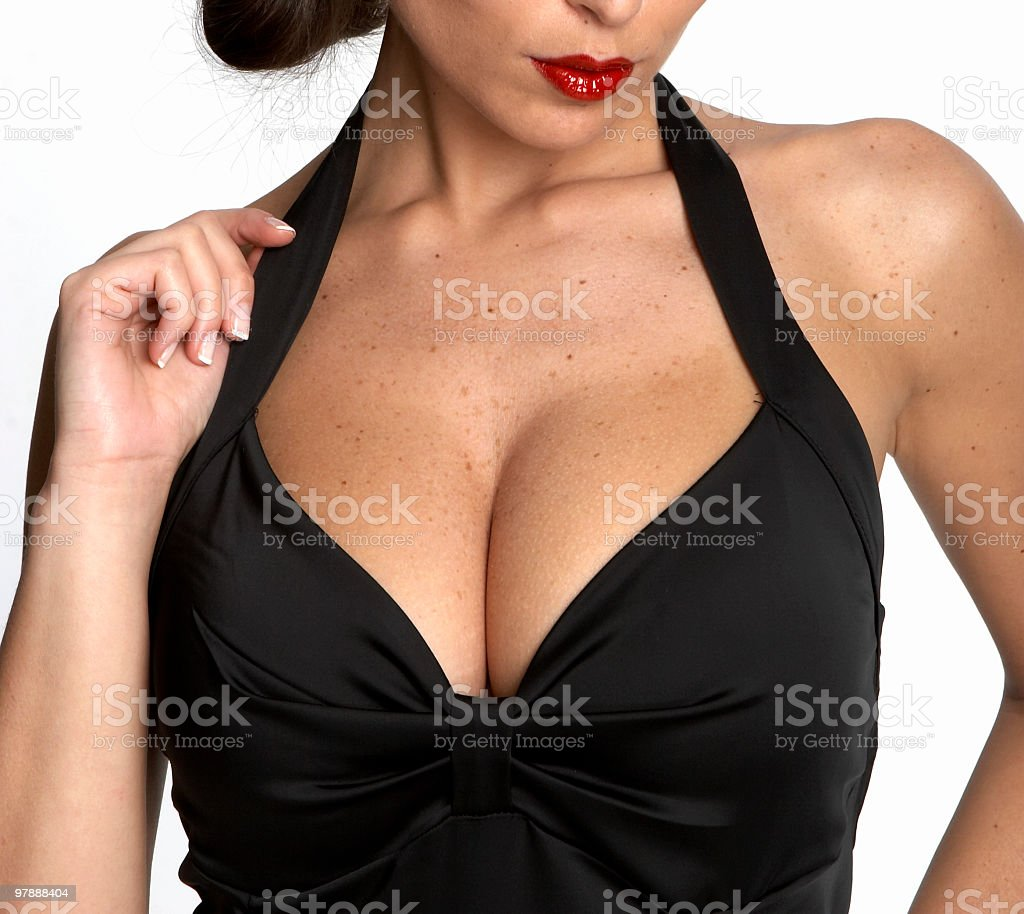 Close-up of sexy woman's neckline body sculpting singlet stock photo