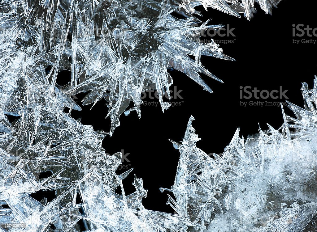 A closeup of sharp ice crystals on a black background royalty-free stock photo
