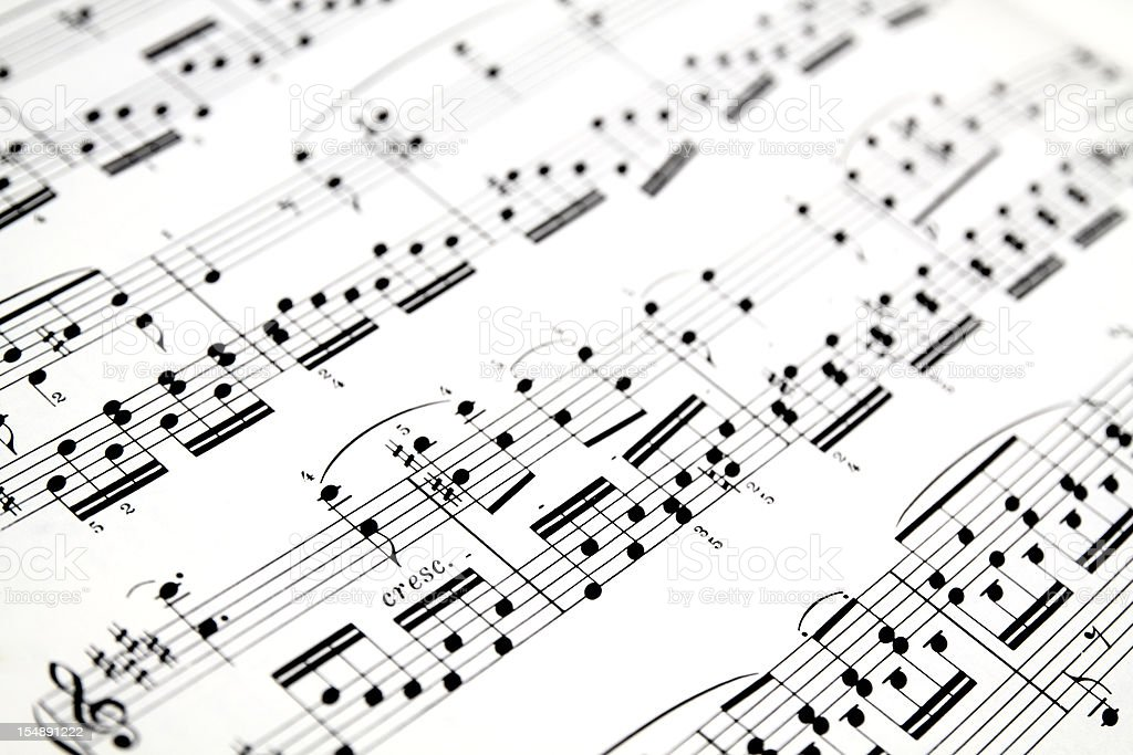 Close-up of sheet music background royalty-free stock photo