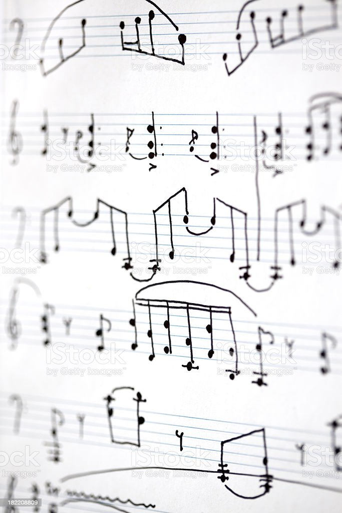 Close-up of sheet music royalty-free stock photo