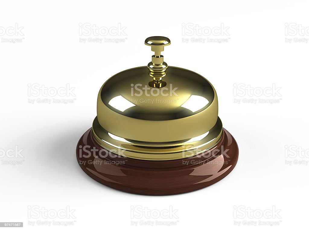 Closeup of shiny brass reception bell stock photo