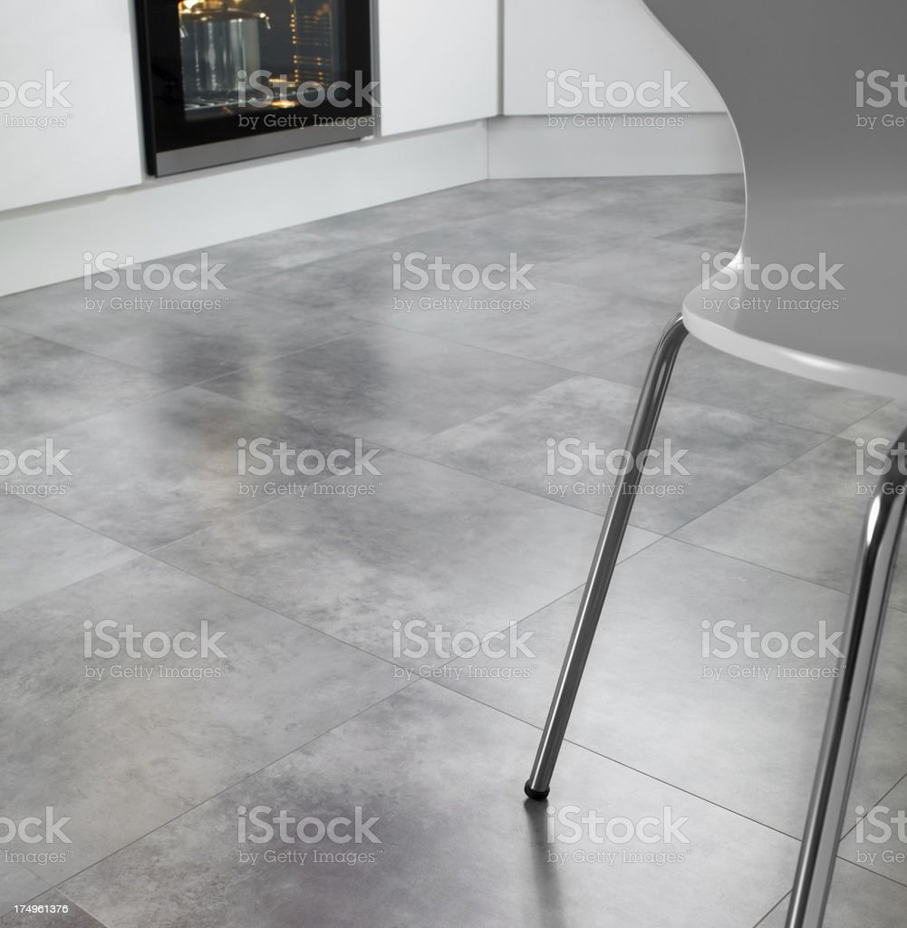 Closeup of shiny kitchen floor tiles stock photo