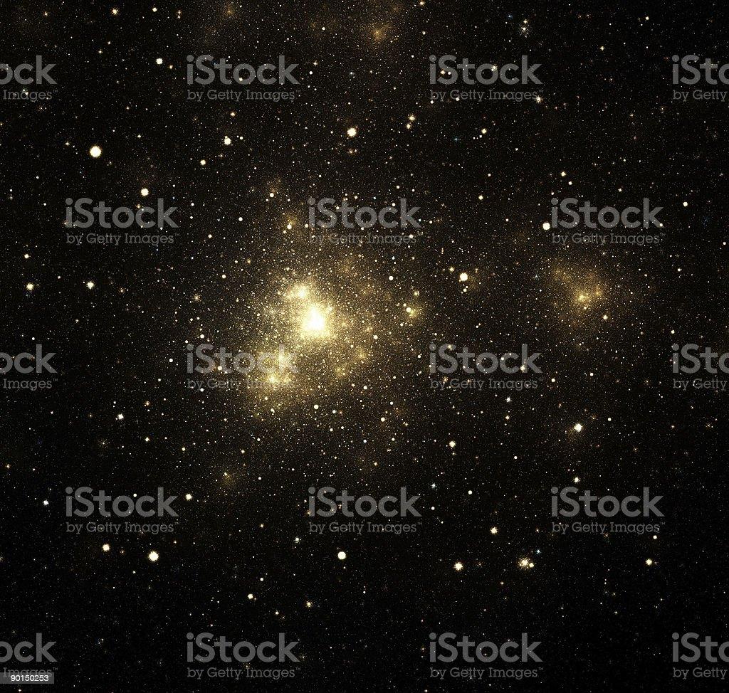 Close-up of shiny nebula with surrounding stars in galaxy stock photo