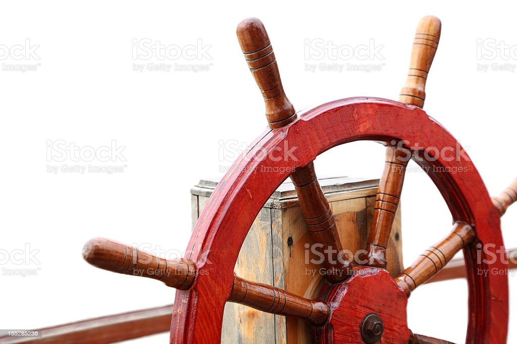 Close-up of ship's steering wheel used to control rudder stock photo