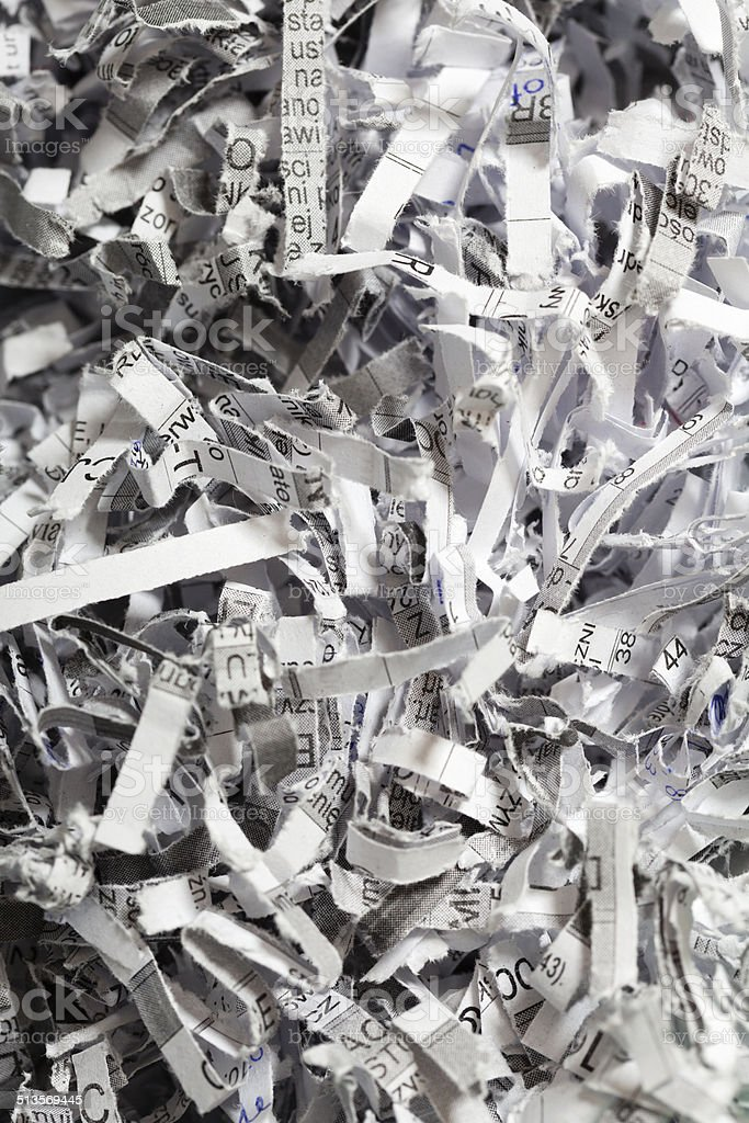 Closeup of shredded paper as abstract background stock photo