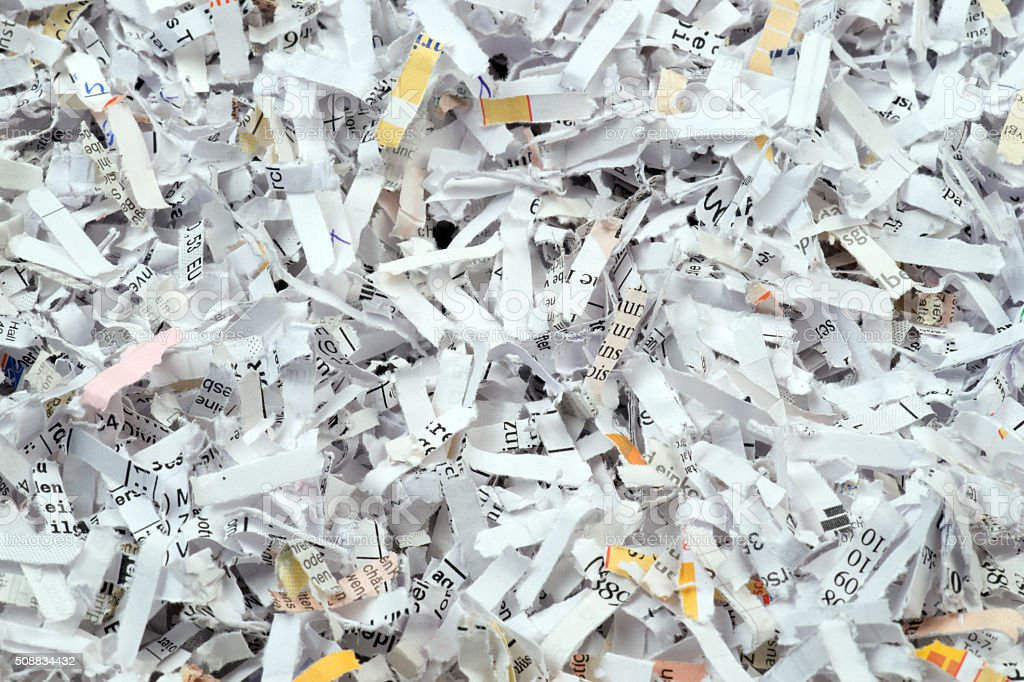 Closeup of shredded paper documents stock photo
