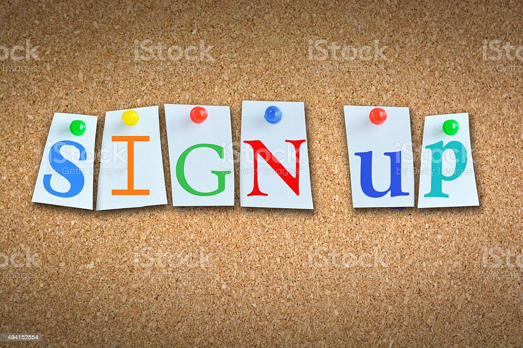 """Close-up of """"Sign-up"""" on cork with sticky notes and pins stock photo"""